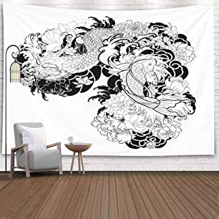 Cibaww Wall Decor Tapestry,80X60 Inch Art Tapestry Wall,Wall Tapestry for Men Hand Dragon Koi Fish Flower Tattoo Carp Line Drawing Coloring Book Wall Art Tapestry,Covering Decorative Cloth Hanging