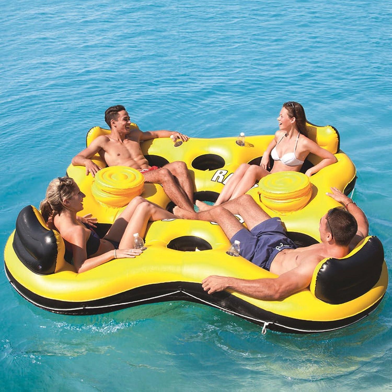 descuento Longwei Fila Fila Fila flotante Ocean Park Reclinables Fila flotante para cuatro personas Cama flotante Hilera de agua Nado Compartimiento de hielo para Niños adultos de gran tamaño Inflador de Color amarillo  bajo precio del 40%