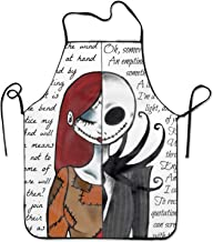 Ikionier Nightmare Before Christmas Cooking Apron Kitchen Apron, Lock Edge Waterproof Durable String Adjustable Easy Care Aprons for Women Men Chef