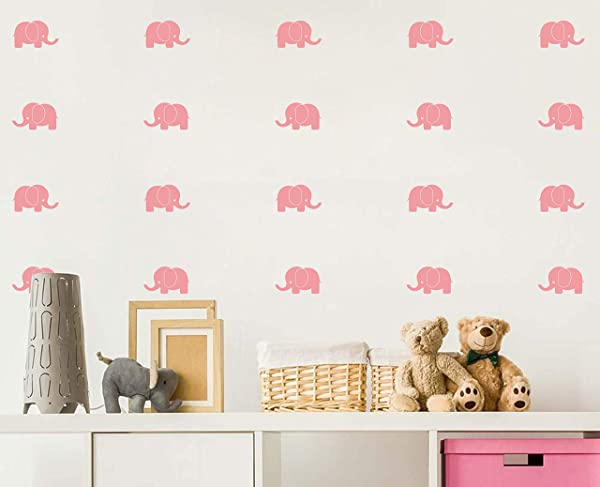 Baby Elephant Wall Decals Nursery Wall Stickers Baby Room Decor Animal Vinyls Baby Shower Gift Removable Vinyl Wall Stickers For Baby Kids Boy Girl Bedroom Nursery Decor A33 Soft Pink