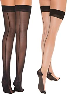 Womens Cuban Heel Stockings Black and Nude Thigh Highs Hosiery For Garter Belts- 2 Pack