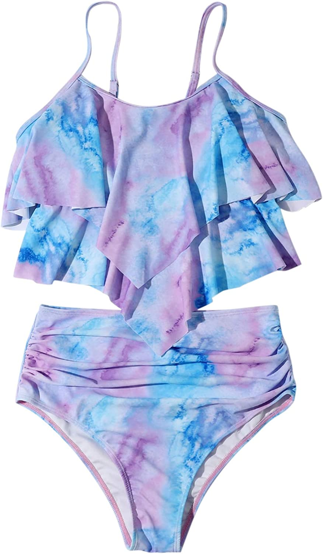 SCSKC High Waisted Bathing Suits for Women Tummy Control Swimwear Tankini Bikini Ruffled Top Two Piece Swimsuits