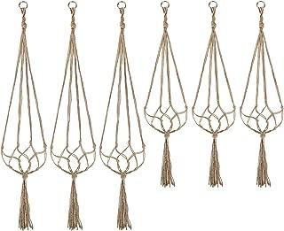 Plant Hanger, Hanging Planter/Plant Holder Indoor Outdoor for Plants, Cotton Rope Plant Hanger Set with Key Ring, Large, 6 Packs, 2 Size
