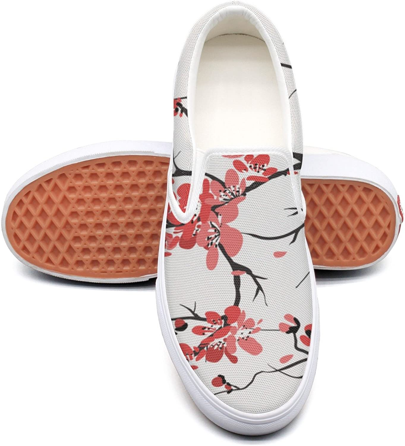RegiDreae Canvas Slip On Sneakers for Women Paint Blossom Flower Fashion Sneaker