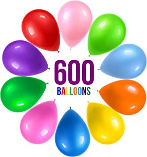 Prextex 600 Party Balloons 12 Inch 10 Assorted Rainbow Colors - Bulk Pack of Strong Latex Balloons for Party Decorations, ...