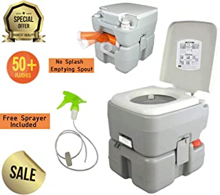 Outdoor Portable Toilet for Camping | RV Toilet Porta Potty for Adults and Kids | Marine Emergency Travel Toilet with Level Indicator | 3 Way Piston Flush | Rotating Spout | Boating & Roadtripping