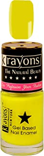 KRAYONS GEL BASE GLOSSY EFFECT NAIL POLISH ENAMEL COLOR, 6ML SAFE DRY FAST COLLECTION FOR WOMEN, TEENS, KIDS (NEON YELLOW)