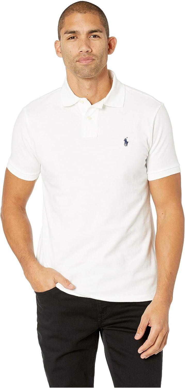 Polo Ralph Lauren Mens Custom Slim Fit Polo Shirt (XXL, White)