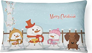 Caroline's Treasures BB2461PW1216 Merry Christmas Carolers Dachshund Red Brown Canvas Fabric Decorative Pillow, 12H x16W, ...
