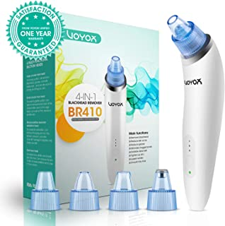 VOYOR Blackhead Remover Vacuum Suction Facial Pore Cleaner Electric Acne Comedone Extractor Kit with 4 Suction Head for Women and Men Black Heads Extraction BR410