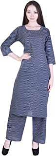 A-TEX INDIA Women's Cotton Printed Straight Blue Kurti With Palazzo