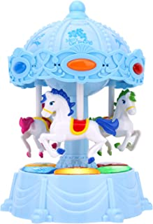Zooawa Carousel Music Box, Merry Go Round Electronic Musical Rotating Toy with 3 Modes & Animal Sound - Blue