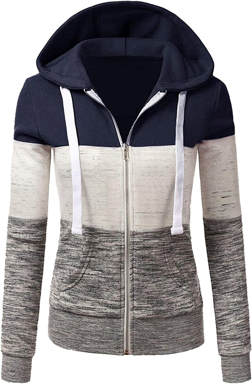 ONHUON Sweatshirts for Women,Women Hoodies Zip Up Trendy Aesthetic Patchwork Long Sleeve with Pockets Pullover Sweatshirt