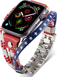 American Flag band, Compatible with Apple Watch Band Series 5 4,3,2,1 38MM 42MM 40MM 44MM, US The Stars Stripes Leather Bands, Stainless Steel Quick Release Adjustable Size, Handmade Replacement Women