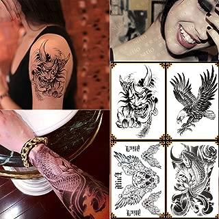 Kotbs 4 Sheets Temporary Tattoo for Men Women Devil Skull, Koi Fish, Eagle Hawks Body Tattoos Sticker Waterproof Fake Tattoo