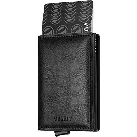 VULKIT Credit Card Holder RFID Blocking Mens Leather Card Wallet Pop Up Secure Bank Card Holder with 2 Slots for Cards and Banknote, Black