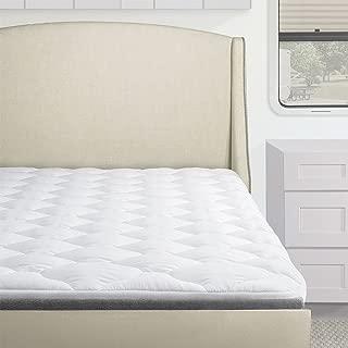 Standard Hypoallergenic Overfilled Pillow Top RV Mattress Pad, RV/Camper Mattress Topper Down Alternative, Three Quarter Size