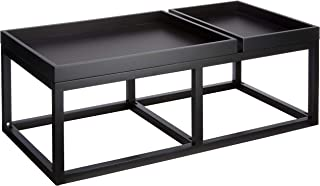 Marca Amazon - Rivet - Mesa de centro con 2 bandejas 107 x 55 x 385 cm negro