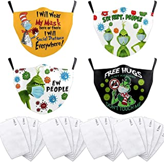 4 Pcs Cartoon Face_Mask Funny Green Reusable Washable Cloth Mask Mouth Cover with 20 Filters Facial Shield Adult Face Prot...