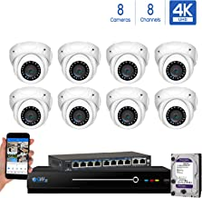 GW Security 8 Channel 4K NVR 8MP IP Camera Network PoE H.265 Surveillance System with 8-Piece Ultra HD 4K 2160P Weatherproof Outdoor/Indoor Dome Security Cameras - White
