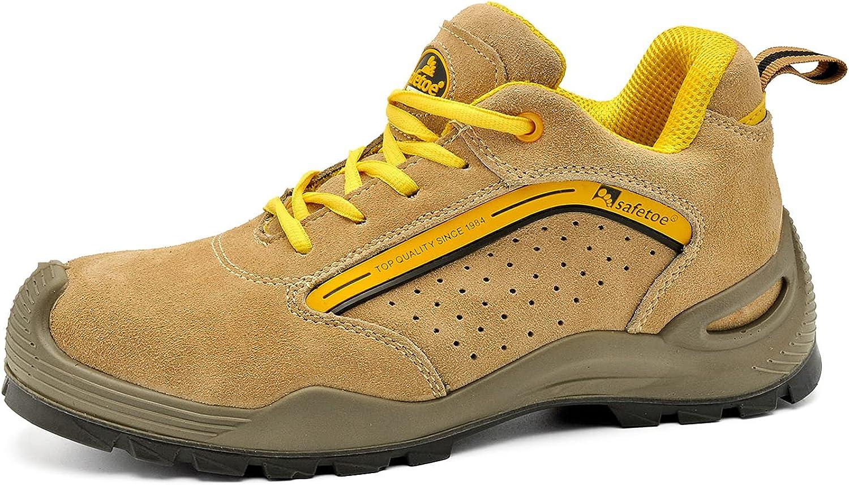 SAFEYEAR Zapatos de Seguridad y Calcetines de Trabajo de Cuero Transpirable - 7296 Zapatillas de Seguridad Ligeras para sitios con Puntera de Acero de Ajuste Ancho