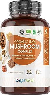 Ekologisk svampbaserad komplex - 8 svampar (inklusive Igelkottstaggsvamp, Lackticka, Sprängticka) + gurkmeja & ingefära, V...