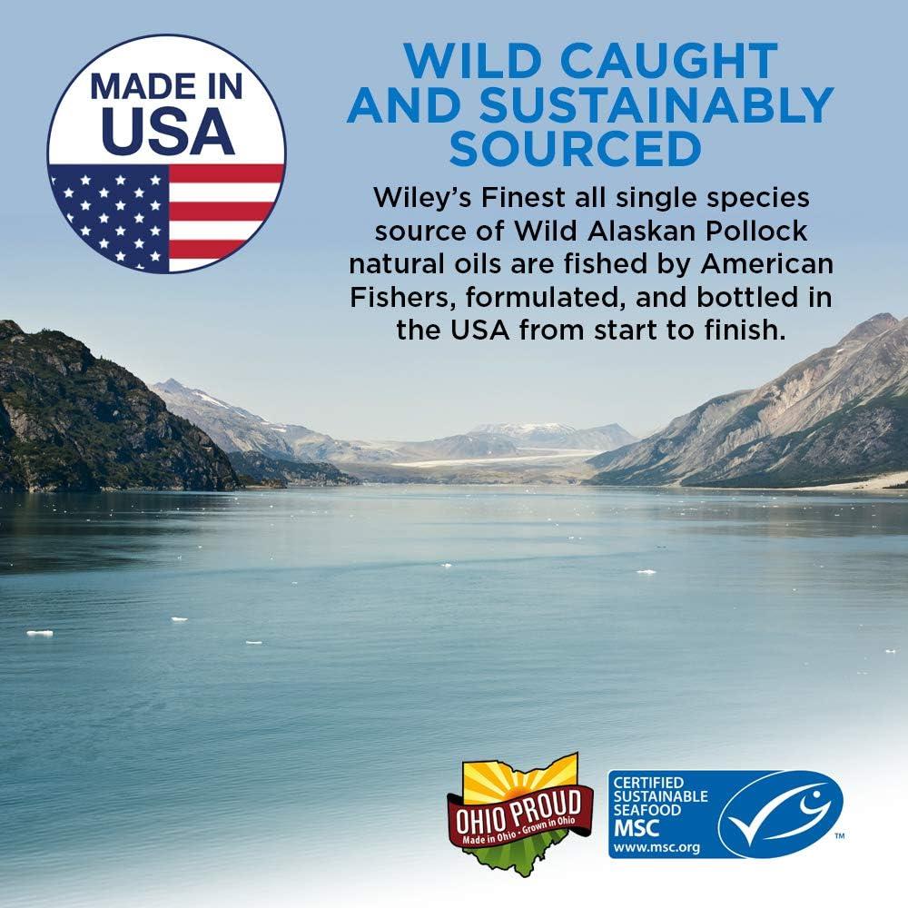 Wileys Finest Wild Alaskan Fish Oil - 3X Triple Strength Peak EPA DHA, 1000mg Omega-3s, SQF-Certified, 90 Softgels