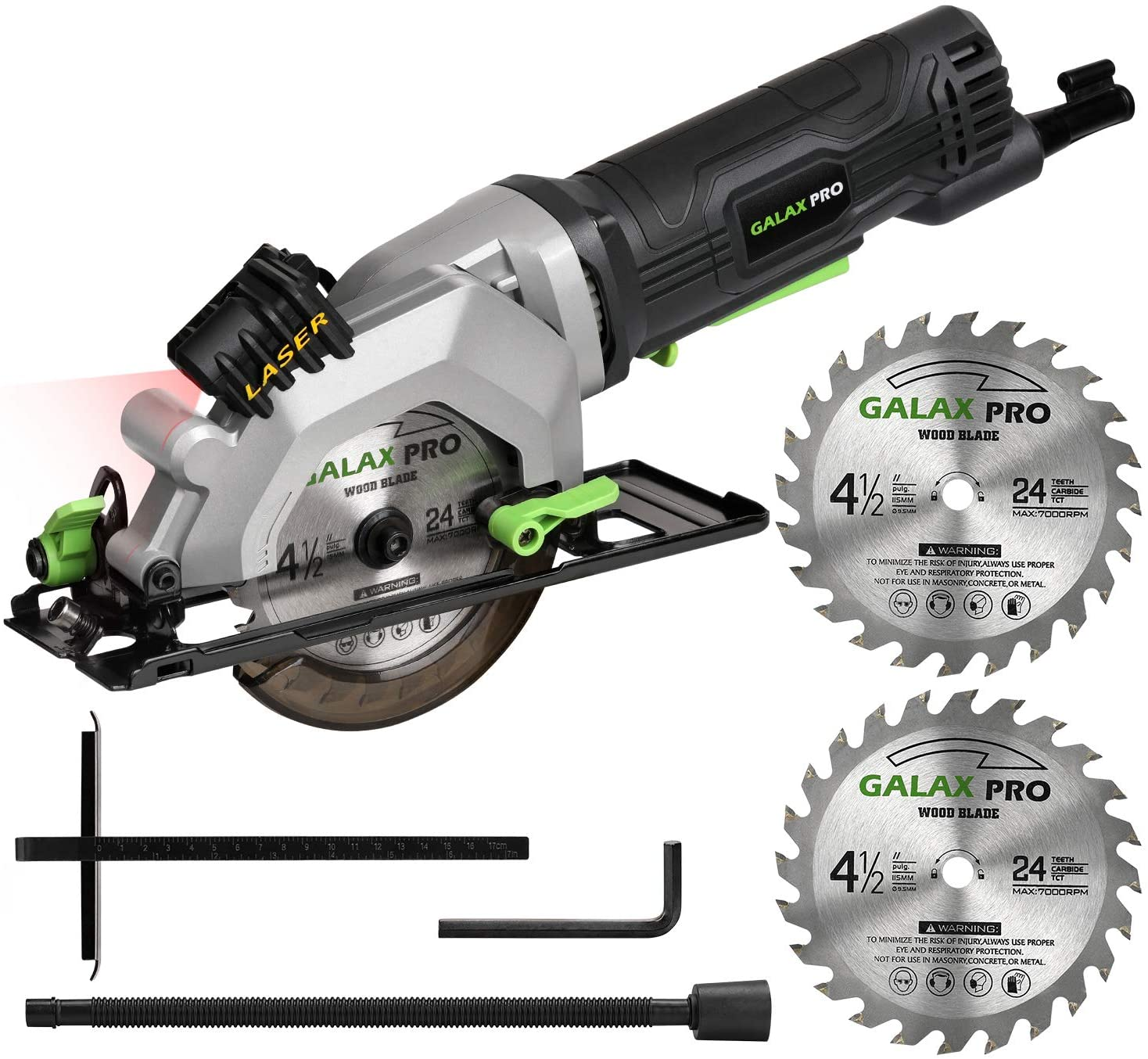 """GALAX PRO 4Amp 3500RPM Circular Saw with Laser Guide, Max. Cutting Depth1-11/16""""(90°), 1-1/8""""(45°)Compact Saw with 4-1/2"""" 24T TCT Blade, Vacuum Adapter, Blade Wrench, and Rip Guide"""
