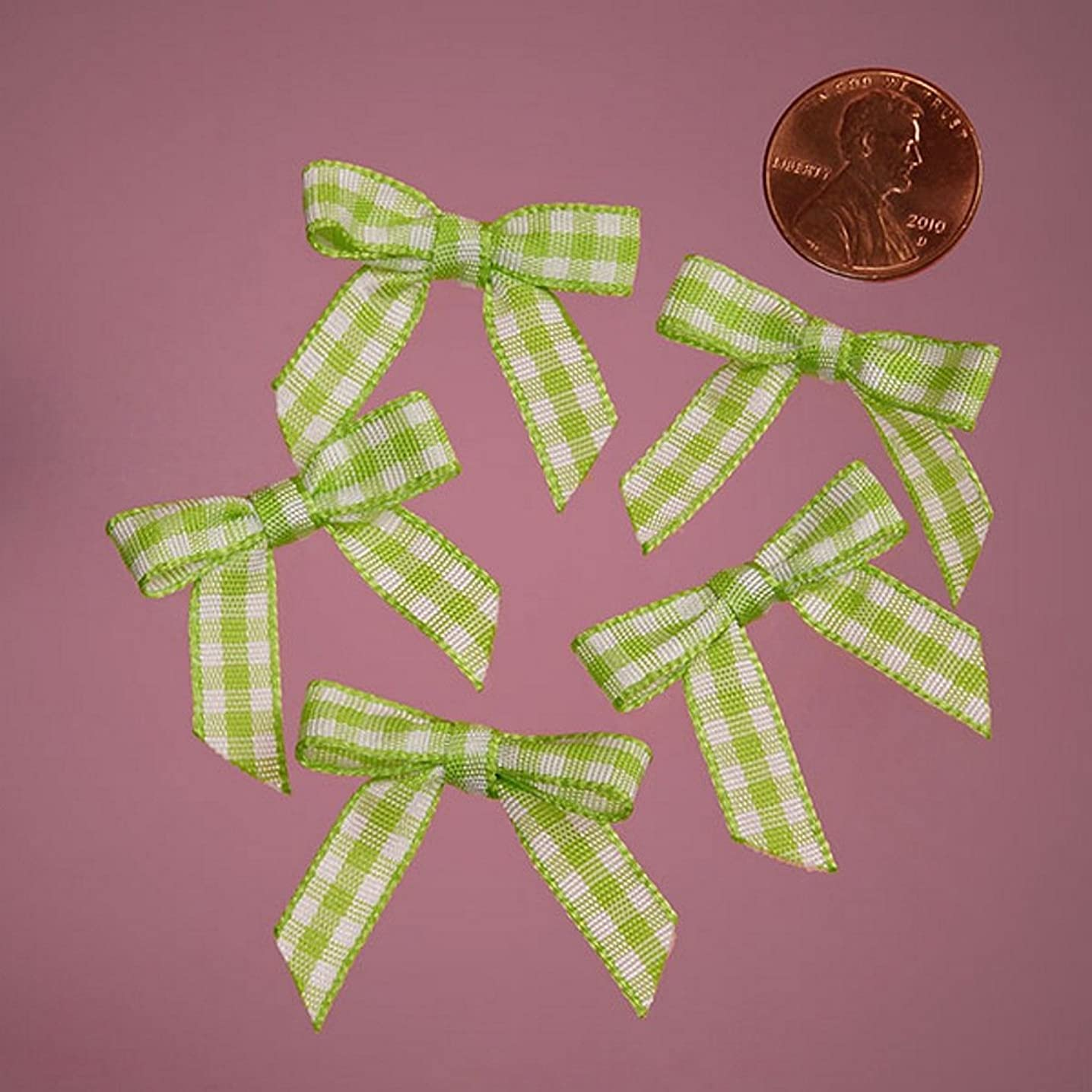 Mini Green and White Checkered Gingham Bows (25)