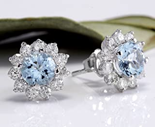 wanmanee Women's Fashion Jewelry 925 Silver Aquamarine Gem Ear Stud Hoop Dangle Earrings