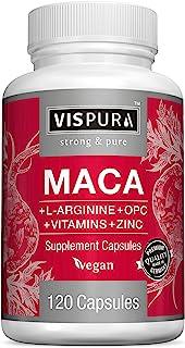 Maca Root Capsules 5000 mg + L-Arginine, Vitamins B6 + B12, OPC and Zinc, Energy Boosting Formula* for Men and Women, 120 ...