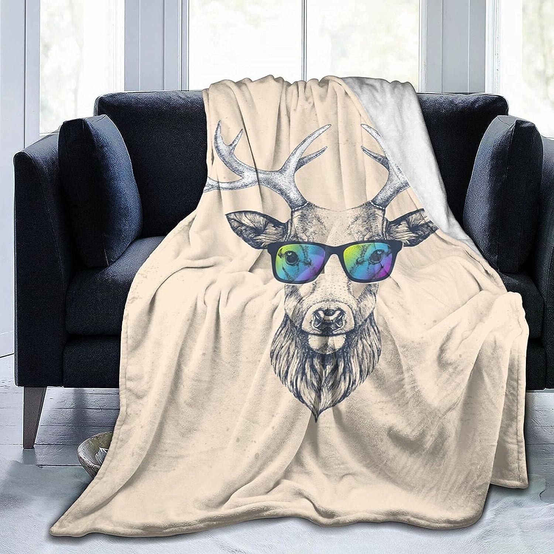 Blanket Hipster Animal Glasses Flannel Very popular Fleece Deer Throw Ultra-Cheap Deals