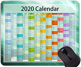 Calendar for 2020 Years Custom Original Mouse Pad,Green Abstract Themed Rubber Mouse Pad