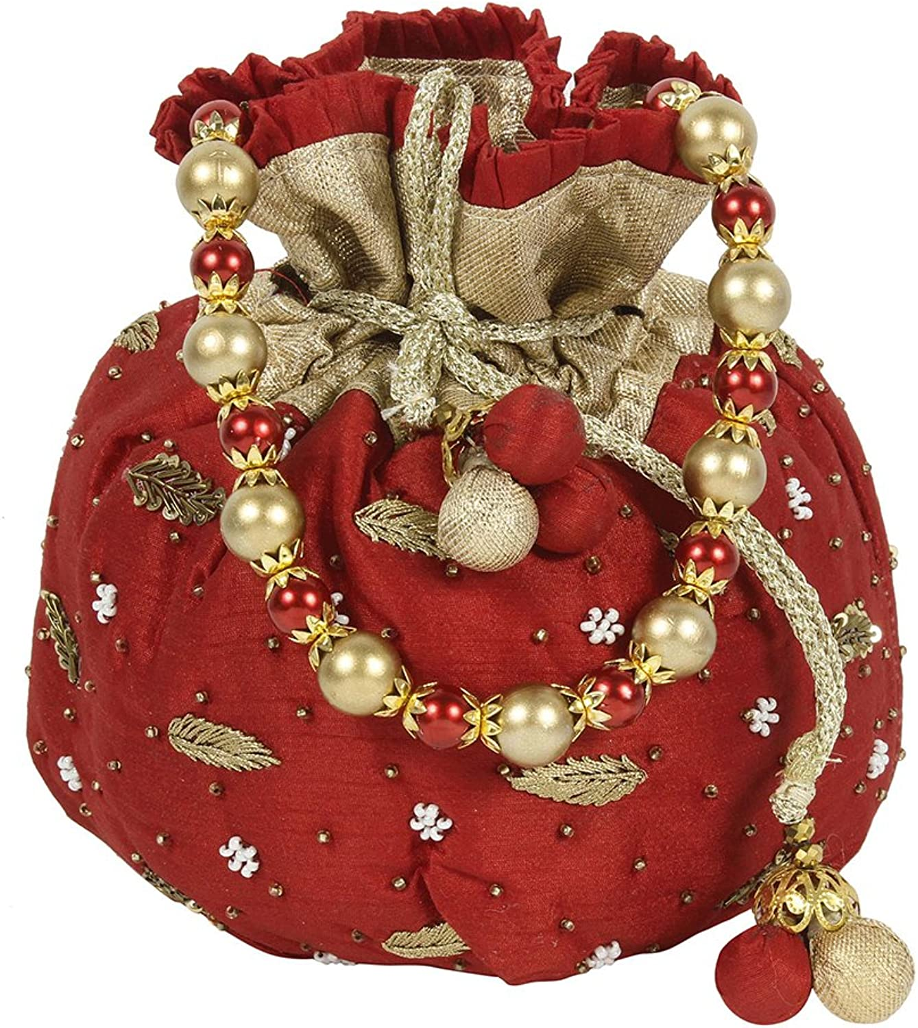 Purse Collection Stunning Floral Beautiful Embroidery Red Colour Potli Purse For Womens