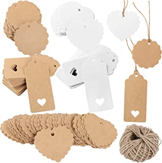 300PCS Blank Kraft Paper Gift Tags with 30M Jute Twine Hollow Heart Design Kraft Card Gift Labels Price Tags Luggage Tags ...