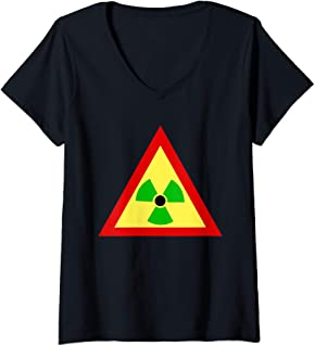 Womens Rasta Radiation Symbol Radioactive  V-Neck T-Shirt
