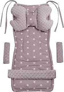 090 Universal Kinder-sitzauflage f/ür Baby Kinderwagen Buggy 5tgl Warm Matte Kissen Dicke Baumwolle mit Minky Fleece 75x35cm Grau-T/ürkis-Sterne