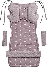 Universal Sitzauflage Kinderwagen & Buggys Sitzeinglage Kinderwagendecke 5tgl Gurtpolster  Spielbogen Kinderwagenset MINKY Baumwolle Medi Partners Sternen mit grauen Minky