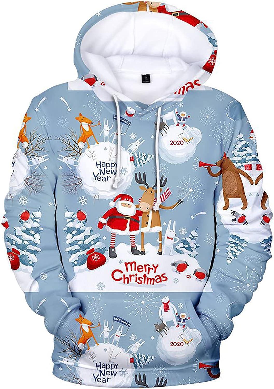 Unisex 3D Ugly Christmas Pullover Hooded Sweatshirts with Kangaroo Pocket