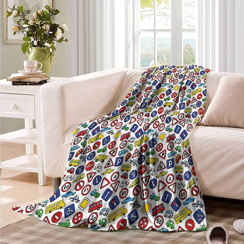 Oncegod Soft Warm Coral Fleece Blanket Boys Room Bus Car Traffic Signs Camping Throw,Office wrap 60  W x 51  L