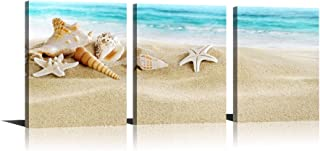 YPY Seascape Giclee Canvas Prints Seashell Starfish on Beach Landscape Pictures Paintings on Canvas Stretched and Framed Conch Starfish White Sand Zen Canvas Wall Art Set of 3 for Home Decor 12x16in