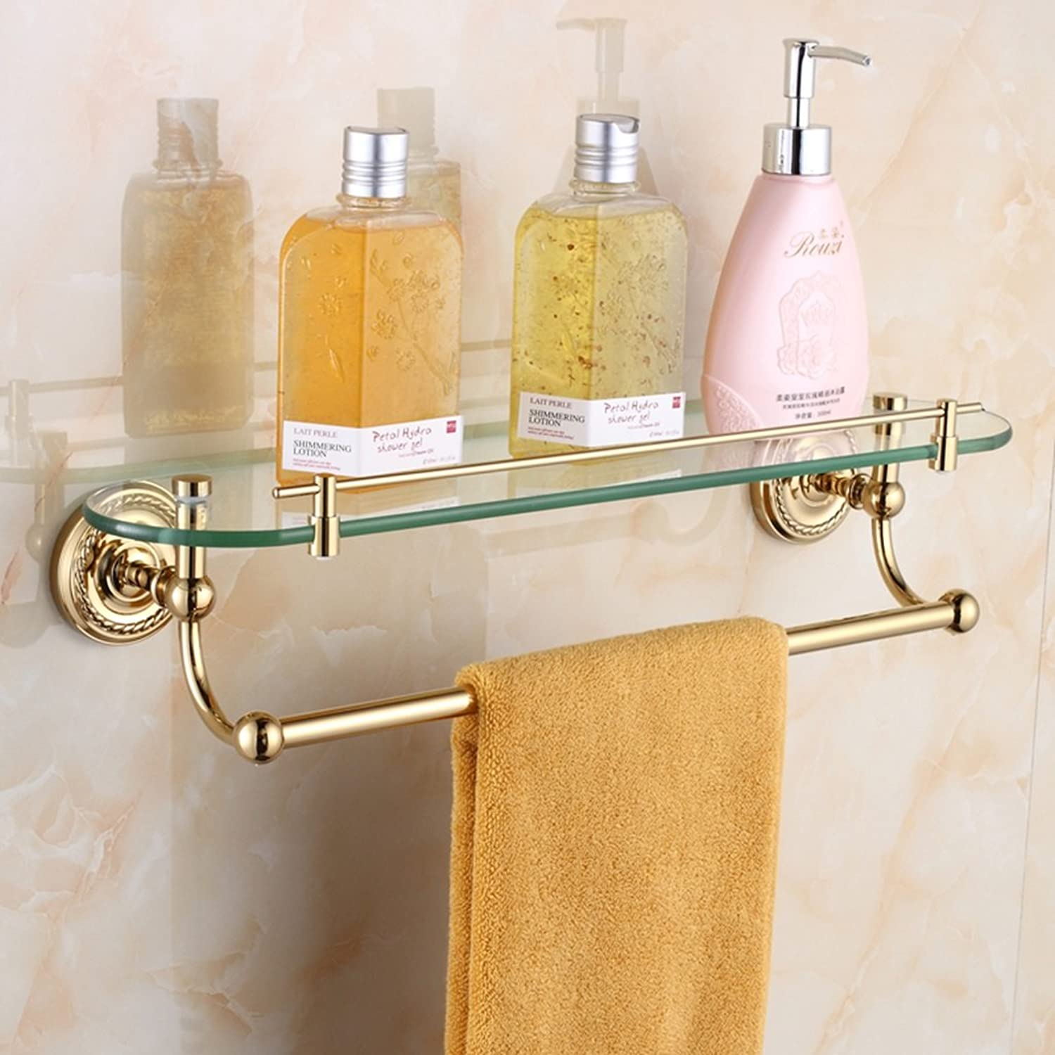 Shelving Bathroom Retro Copper Hardware Pendant Glass Dressing Table Wall Accessories ( color   Brass )