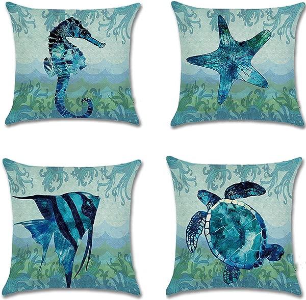 单人沙滩抱枕套海洋海主题枕套装饰性棉麻海岸靠垫套 4 个装 18x18 沙发露台家具双面
