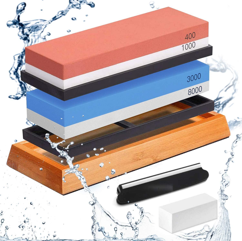 Knife Sharpening Stone Set – Dual Grit Whetstone 400/1000 3000/8000 Premium Whetstone Knife Sharpener with Flattening Stone, Non-slip Bamboo Base, 3 Non-slip Rubber Bases & Angle Guide