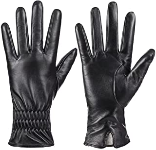 Sponsored Ad - Womens Genuine Sheepskin Leather Gloves, Winter Warm Touchscreen Texting Cashmere Lined Driving Motorcycle ...