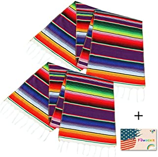 2 Pack Mexican Serape Table Runner 14 x 84 Inch for Mexican Party Wedding Decorations Outdoor Picnics Dining Table, Fringe Cotton Handwoven Table Runners