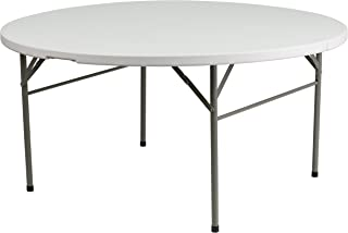 Flash Furniture 60'' Round Bi-Fold Granite White Plastic Folding Table [DAD-154Z-GG]