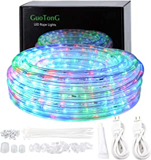 GuoTonG 50ft/15m Plug in LED Rope Lights, 540 Flexible RGB LEDs, 110V, 2 Wires, Waterproof, Connectable, Power Plug Built-in Fuse Design, Indoor/Outdoor Use, Ideal for Backyards, Decorative Lighting