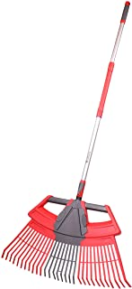 Alterra Tools 3-in-1 Leaf Rake with Detachable, Soft Grip Handle for Backyard, Garden Maintenance, Red, Gray