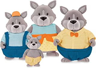 Li'l Woodzeez Gray Paws Wolf Family with English Storybook Toy